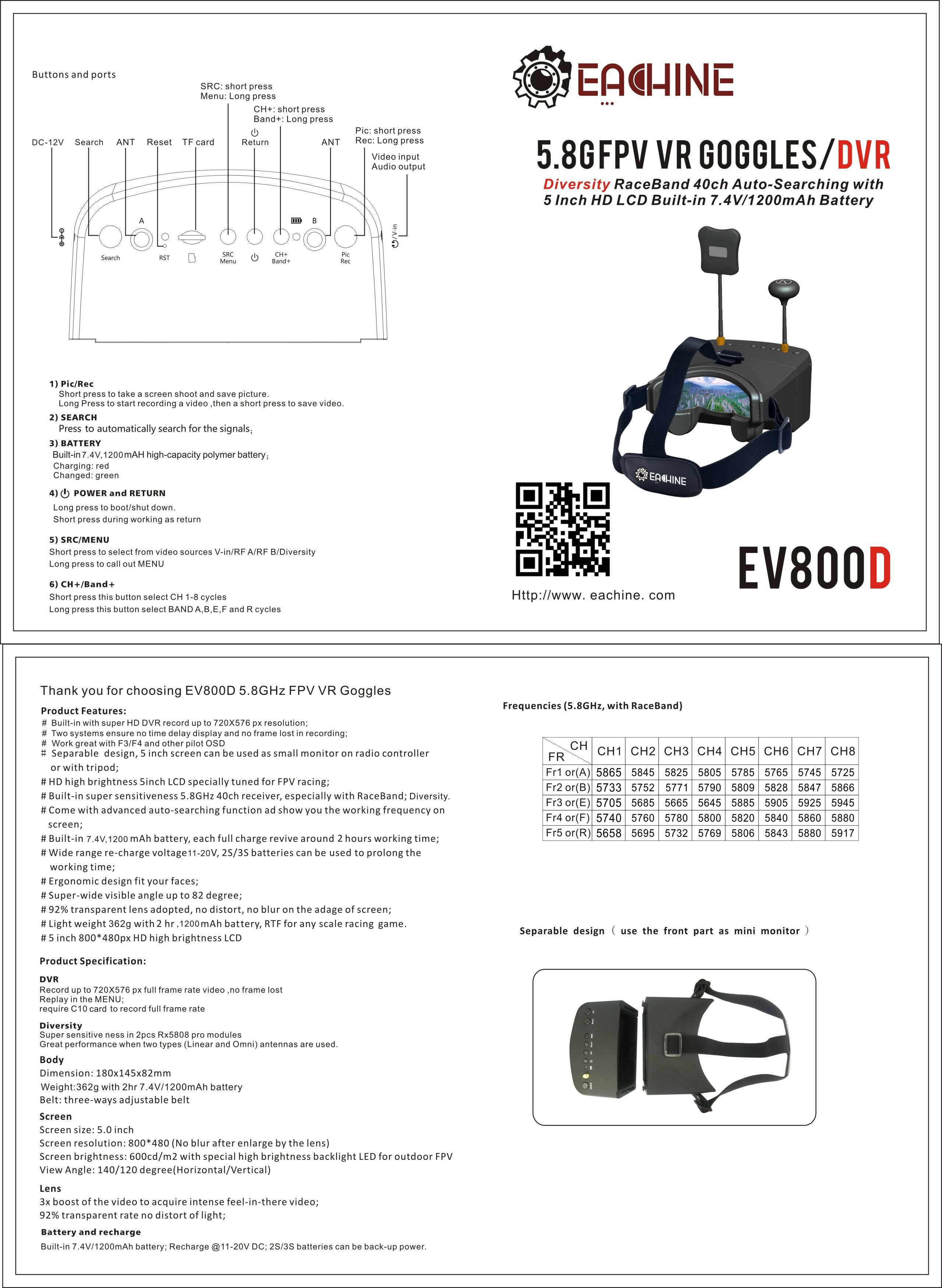 Eachine EV800D Manual